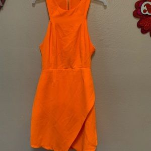Do & be bright neon orange halter cut out dress